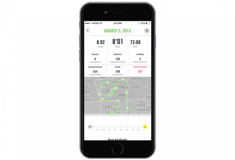 Screenshot of the Lumo Run app